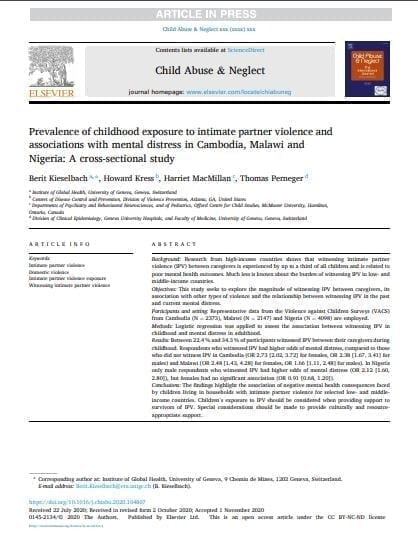 Prevalence of childhood exposure to intimate partner violence and associations with mental distress in Cambodia, Malawi and Nigeria: A cross-sectional study